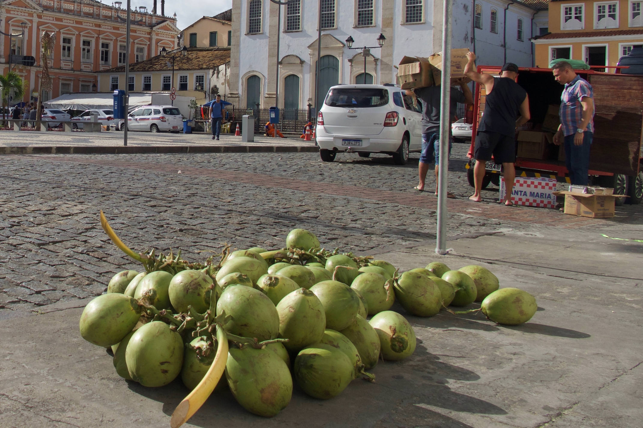Brazil Salvador Pelourinho Coconuts on the street