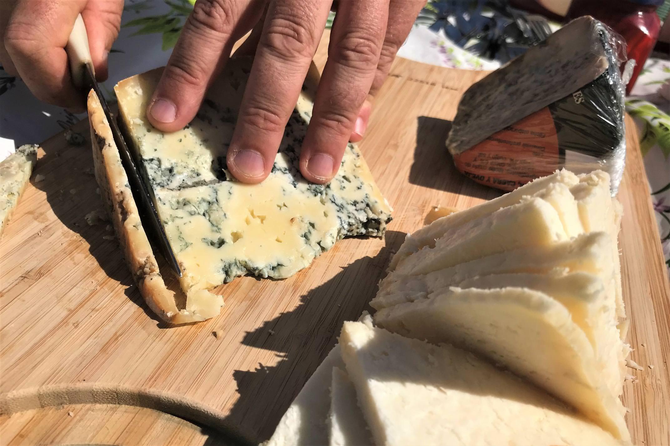 Spain picos de europa cheese cutting various cheeses close up
