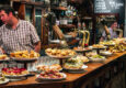 Spain basque country view of a bar with traditional pinchos in san sebastian basque country