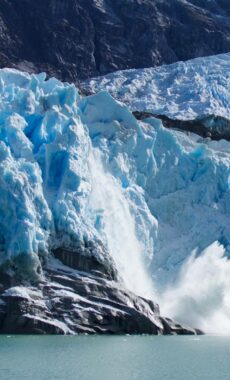 Chile patagonia carretera austral ice calving from leones glacier c pura aventura thomas power