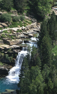 Spain huesca aragon pyrenees ordesa trail hikers gradas soaso waterfalls from faja pelayo c diego
