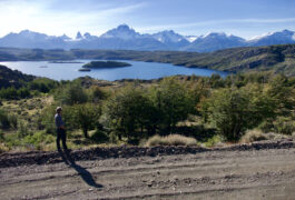 Chile patagonia aysen cerro castillo camilo looking at view across lake