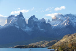 Chile patagonia torres del paine lago pehoe with cuernos mountains