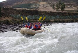 Peru sacred valley group rafting oars aloft
