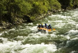 Spain pyrenees pallaresa river raft approaching rapids