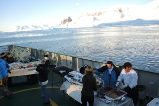 Antarctica deck barbecue on board