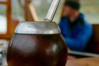 Chile patagonia aysen tortel mate cup on board portrait orientation