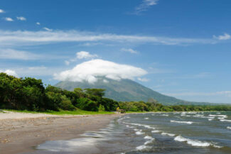 Nicaragua ometepe central america nicaragua landscapes on an ometepe island the picture present the sand santo domingo beach with the view on the volcano concepcion