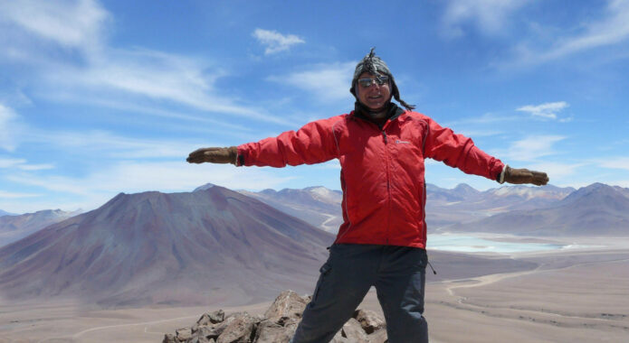 Chile atacama standing on top of toco volcano