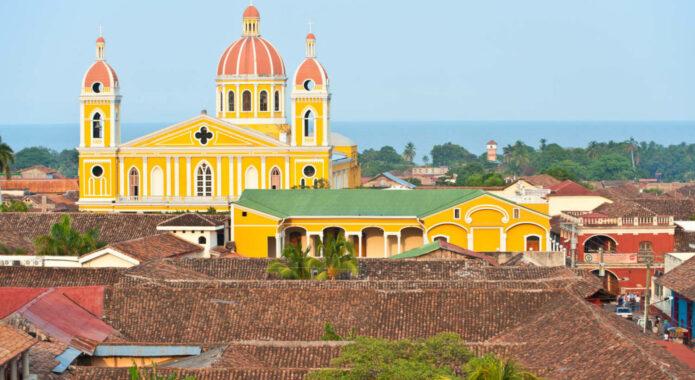 Nicaragua granada granada cathedral and lake nicaragua on the background nicaragua