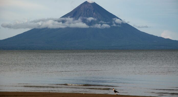 Nicaragua ometepe looking over bay to maderas volcano