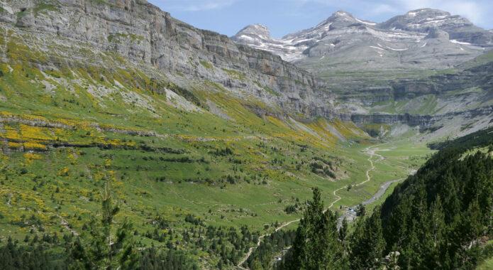 Spain huesca aragon pyrenees ordesa upper valley gradas soaso cola caballo waterfalls from faja pelayo c diego