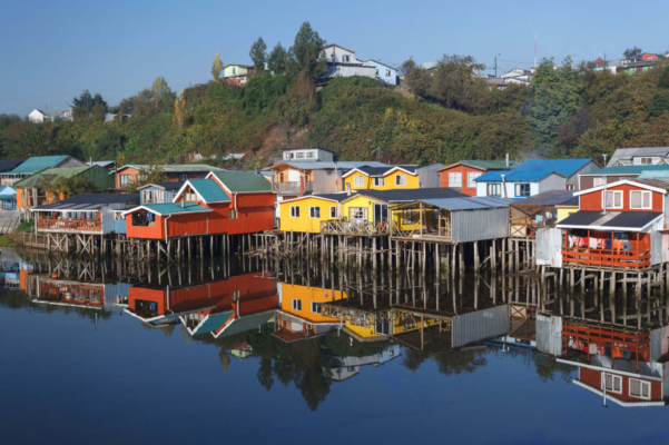 Chile chiloe houses on stilts palafitos in castro chiloe island patagonia
