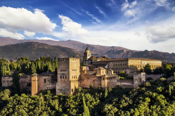Spain andalucia granada alhambra panoramic with mountains