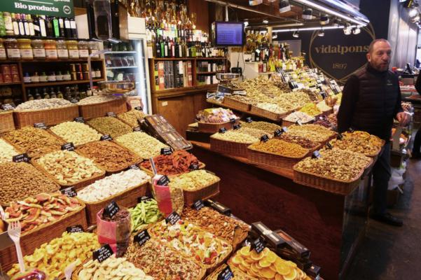 Spain barcelona boqueria market stand ramblas c diego