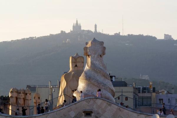 Spain barcelona rooftop views gaudi pedrera tibidabo