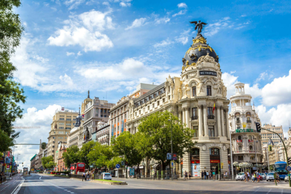 Spain madrid metropolis hotel in madrid in a beautiful summer day