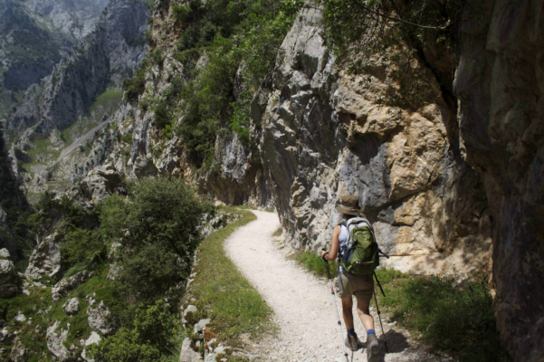 Spain picos de europa walking along cares gorge