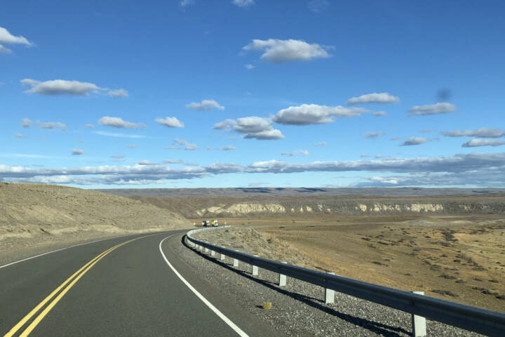 Argentina Ruta 40 South of Los Antiguos bend in road C Sally Dodge