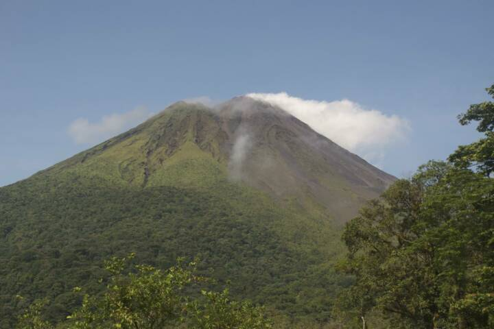 Costa rica arenal volcano smoking crater