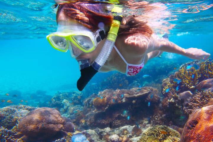Costa rica caribbean snorkel young woman