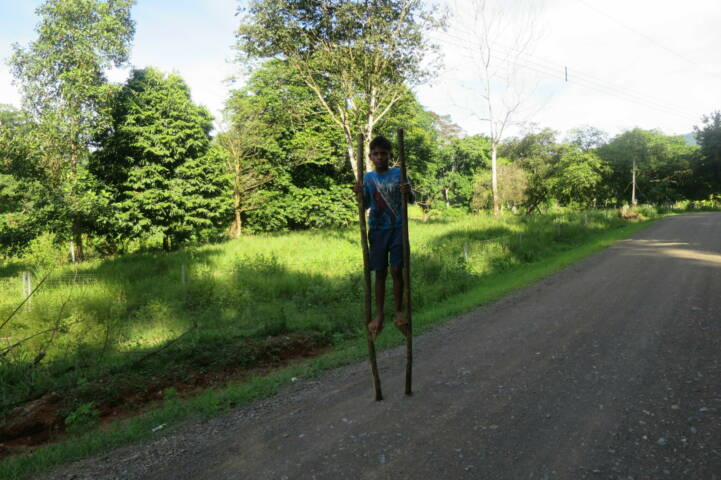 Costa rica osa peninsula boy on stilts c thomas power pura aventura