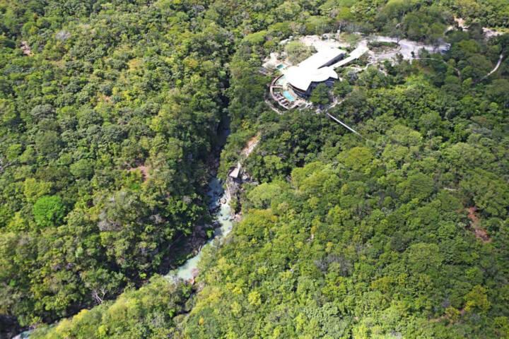 Costa rica rio perdido aerial shot hotel