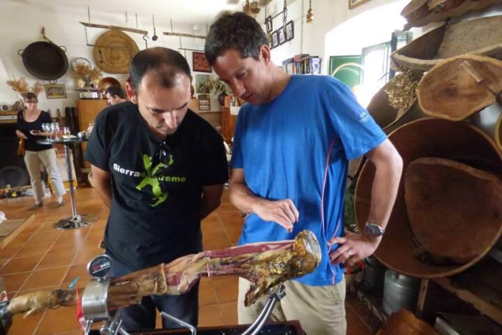 Spain andalucia aracena hills admiring leg of ham