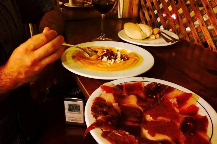 Spain andalucia seville tapas salmorejo and jamon