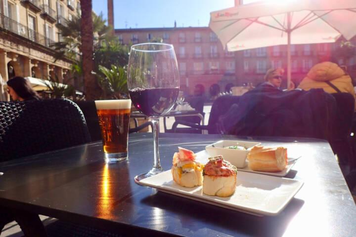 Spain basque country bilbao sunny tapas plaza nueva