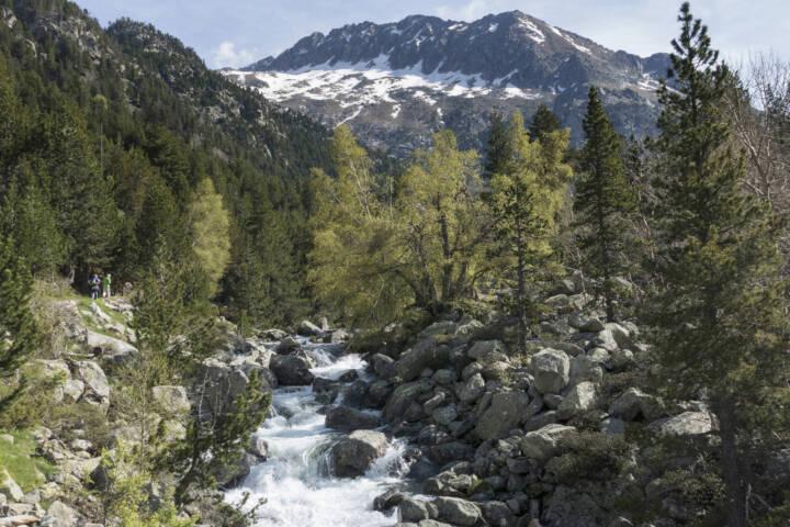 Spain catalonia pyrenees aiguestortes hikers towards negre c pura aventura
