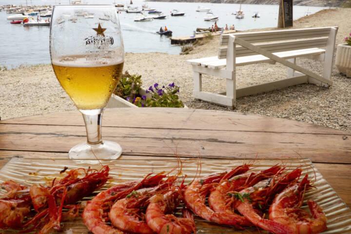 Spain catalonia beer and shrimps cadaquez c diego pura