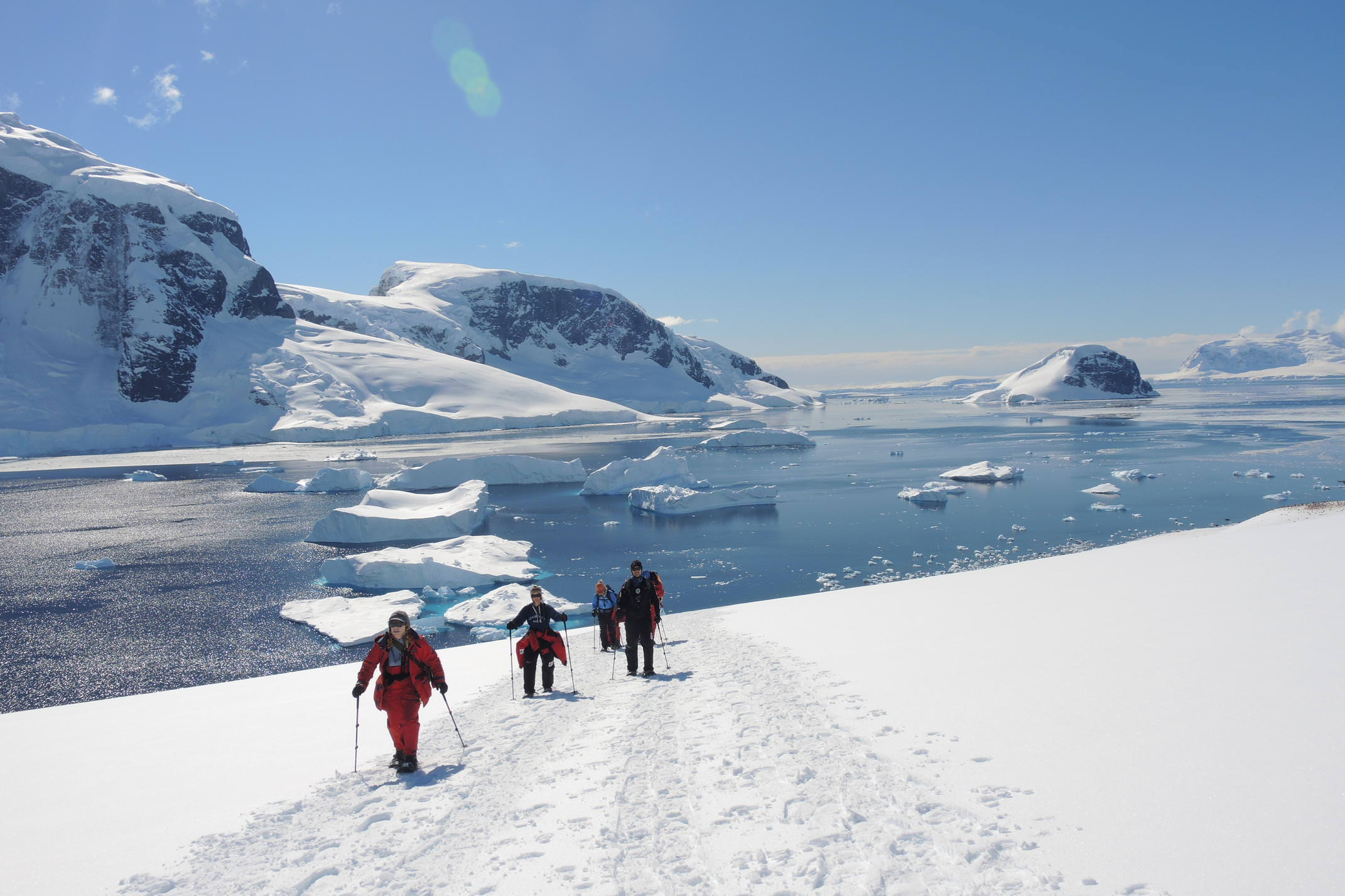 Antarctica danco island snowshoers walking
