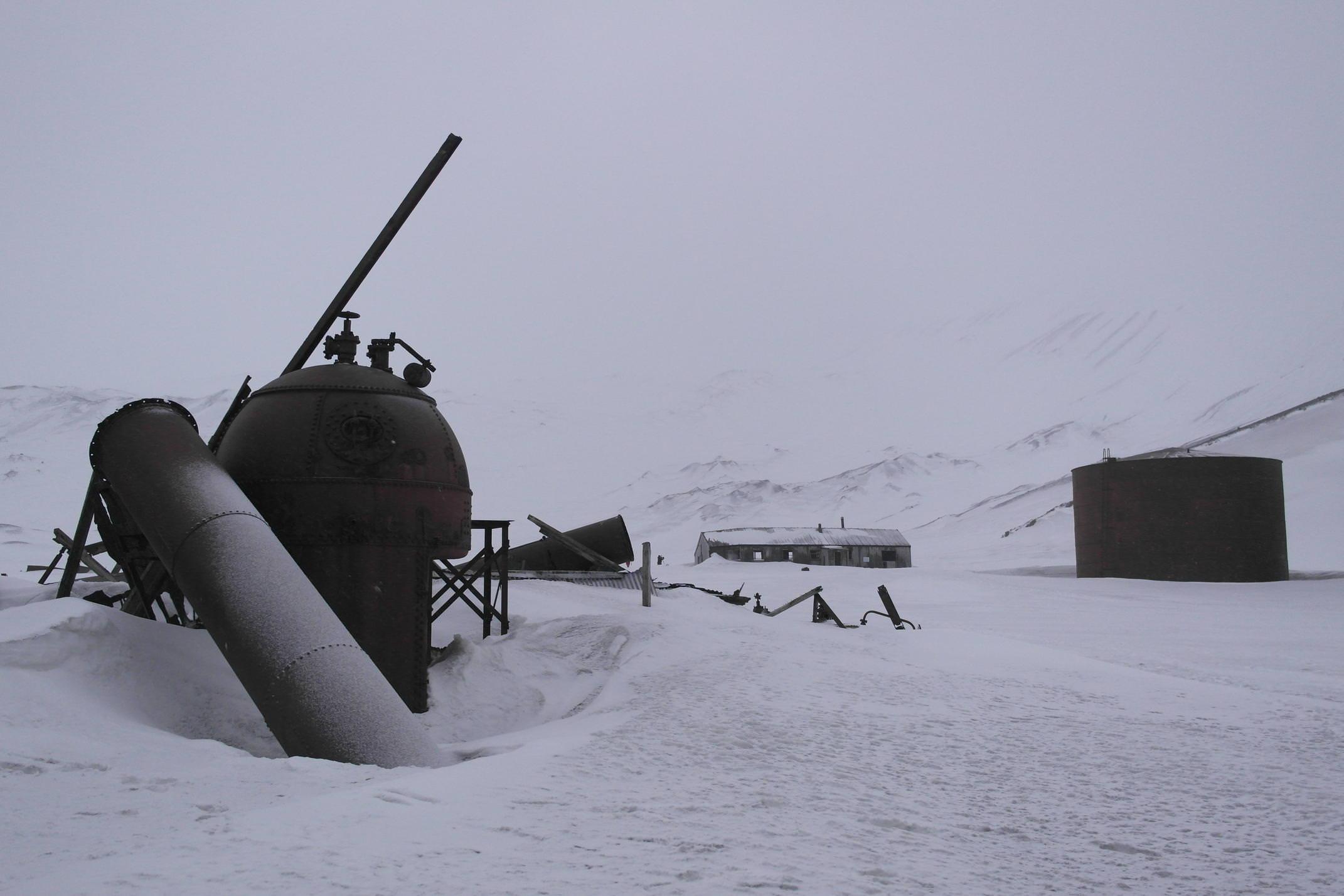 Antarctica deception island snowy ruins