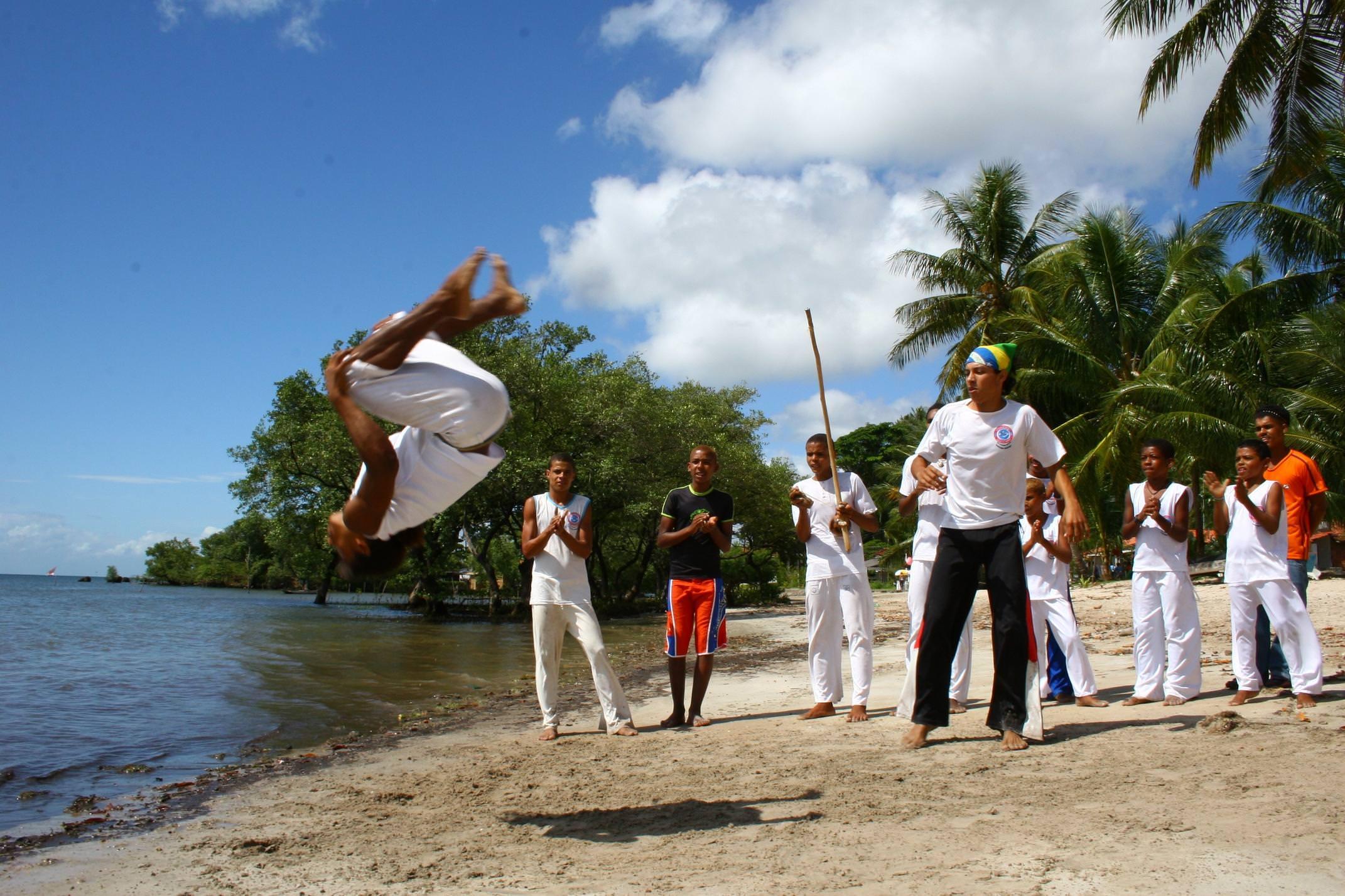 Brazil bahia boipeba island capoeira on beach