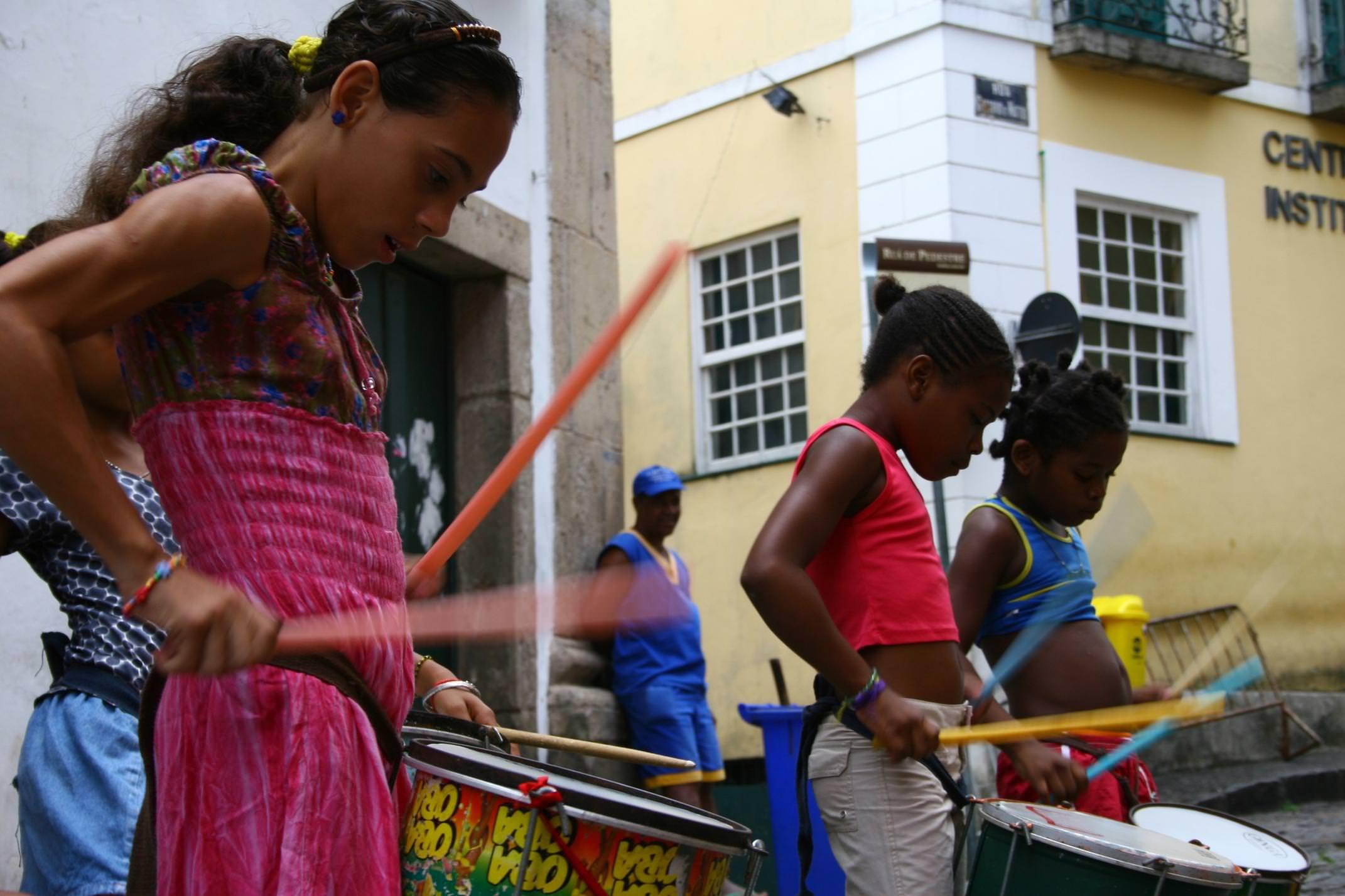 Brazil bahia salvador samba drumming girls