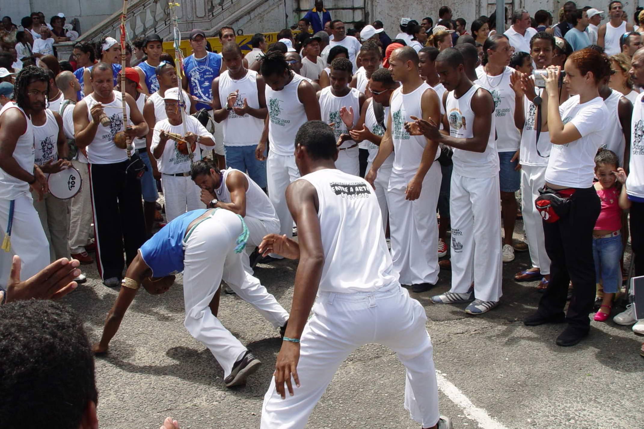 Brazil salvador men playing capoeira in salvador vinicius tupinamba