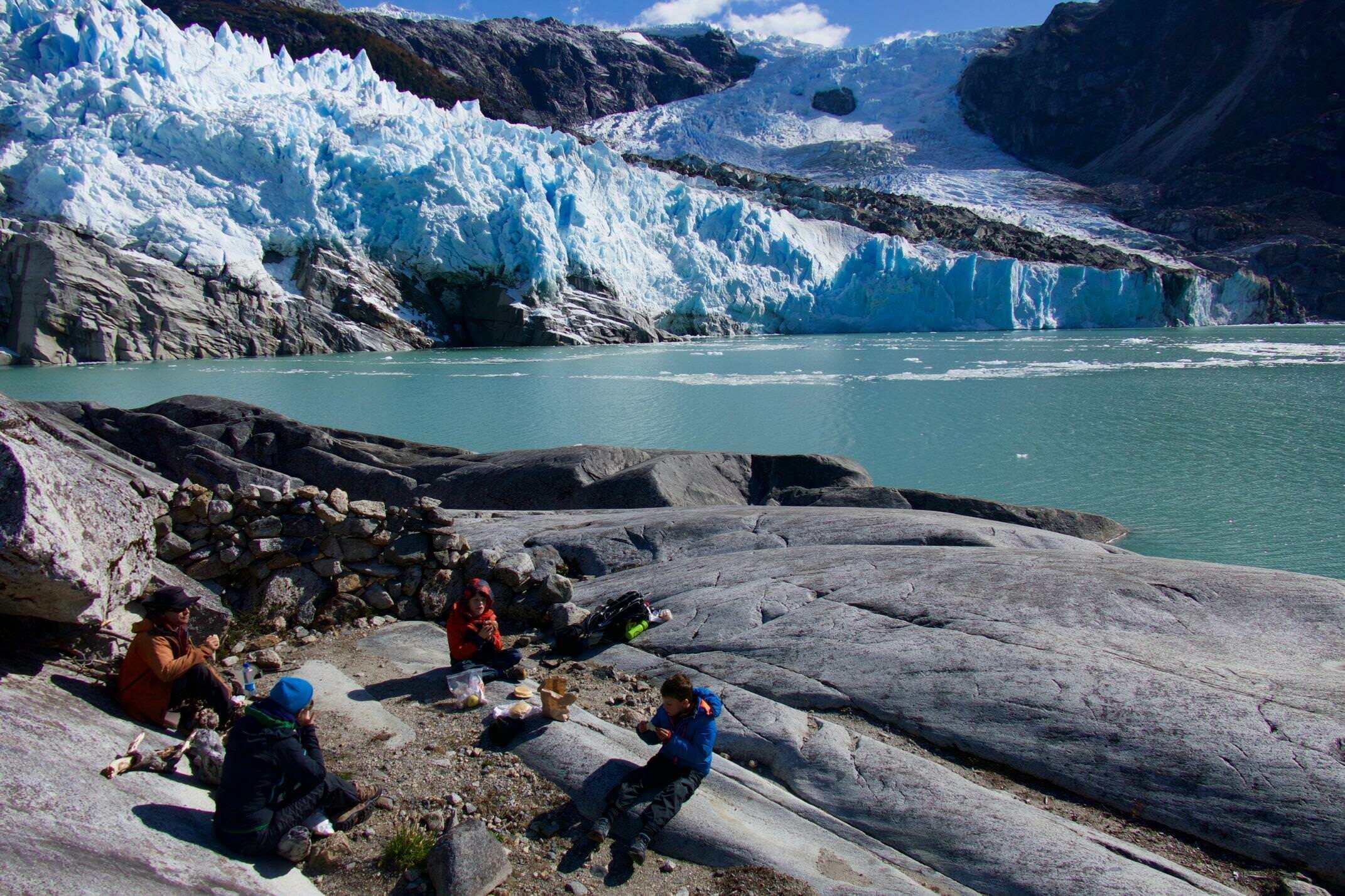 Glacier picnic, Patagonia