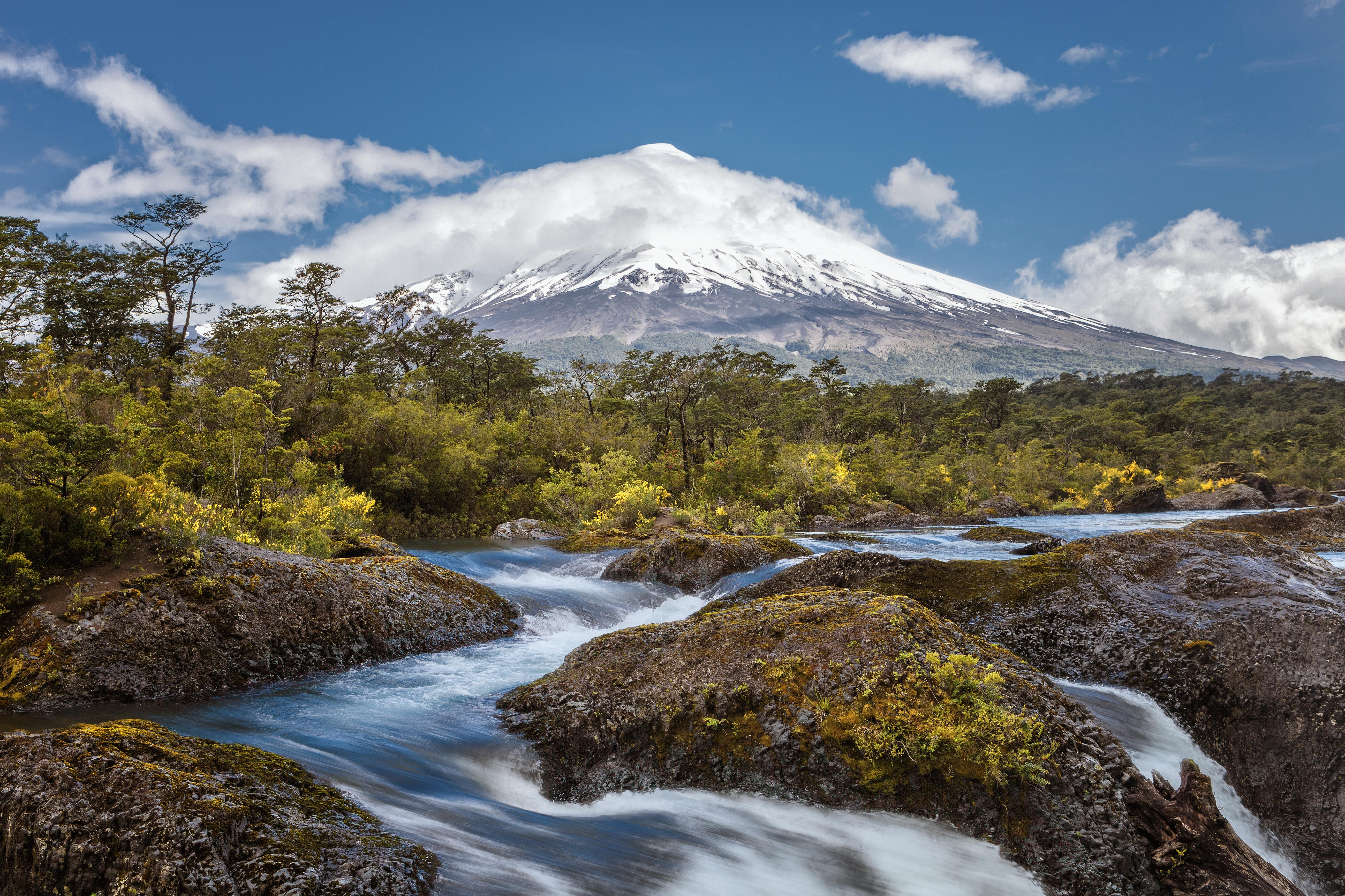 Chile lake district osorno volcano petrohue falls adobe stock