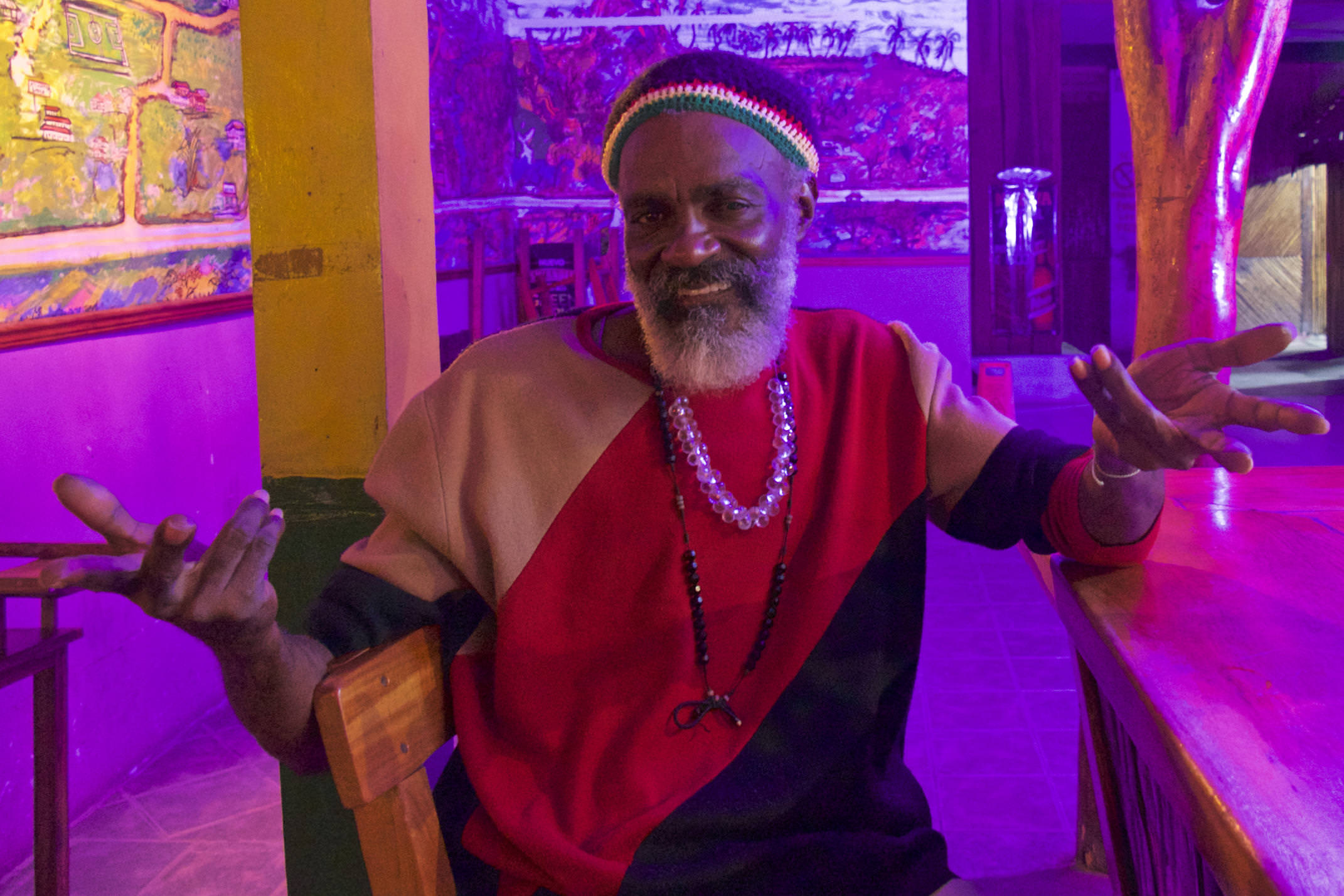 Costa rica cahuita colourful character in bar