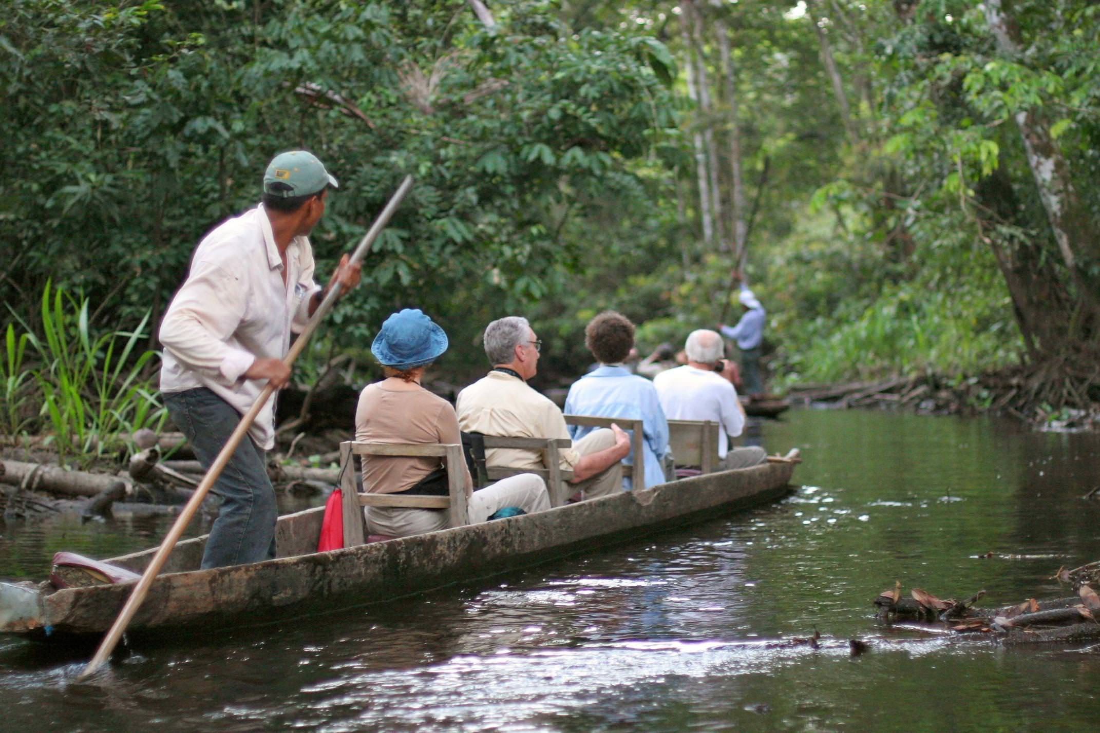 Ecuador amazon napo wildlife centre punting dugout