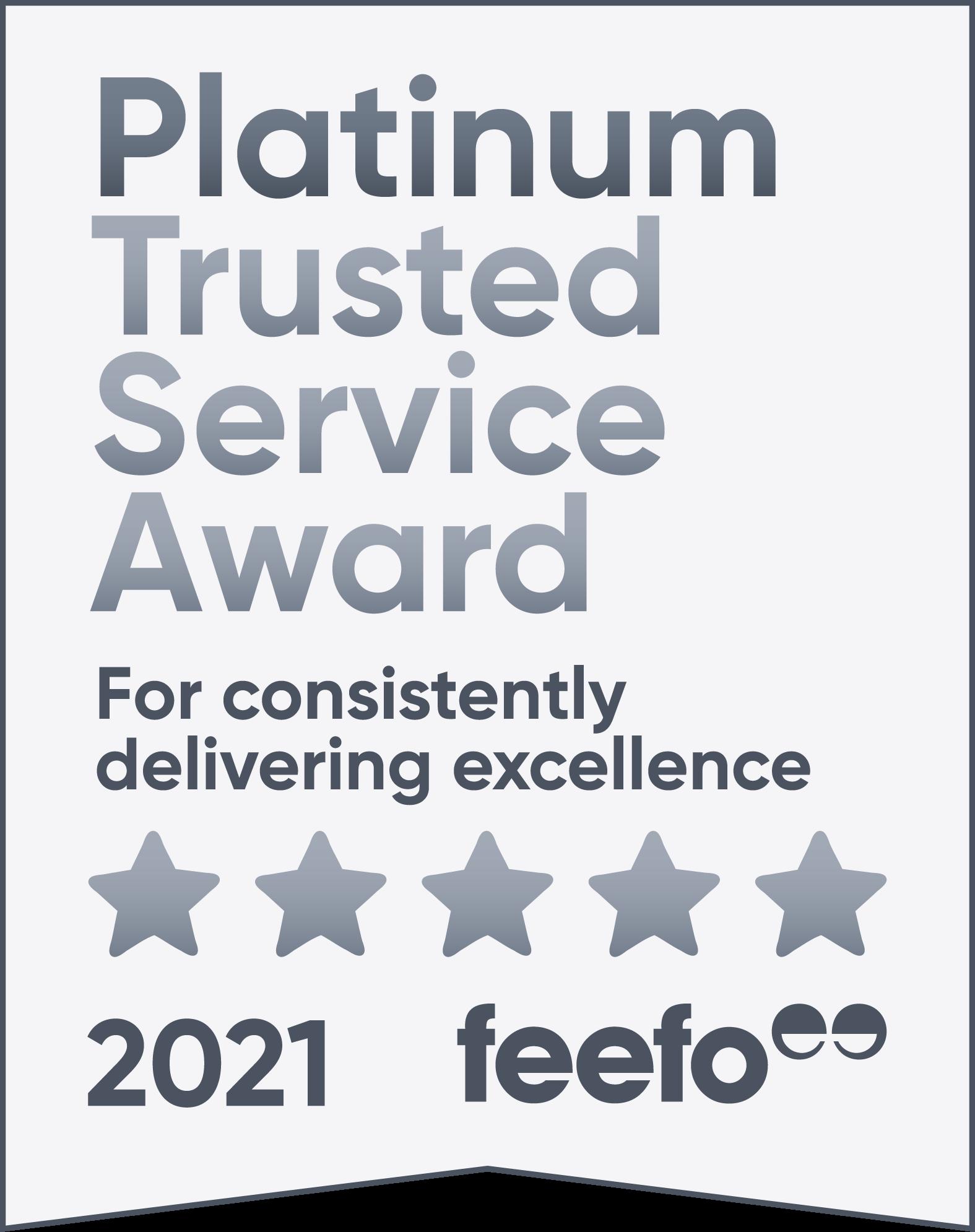 Feefo 2020 platinum