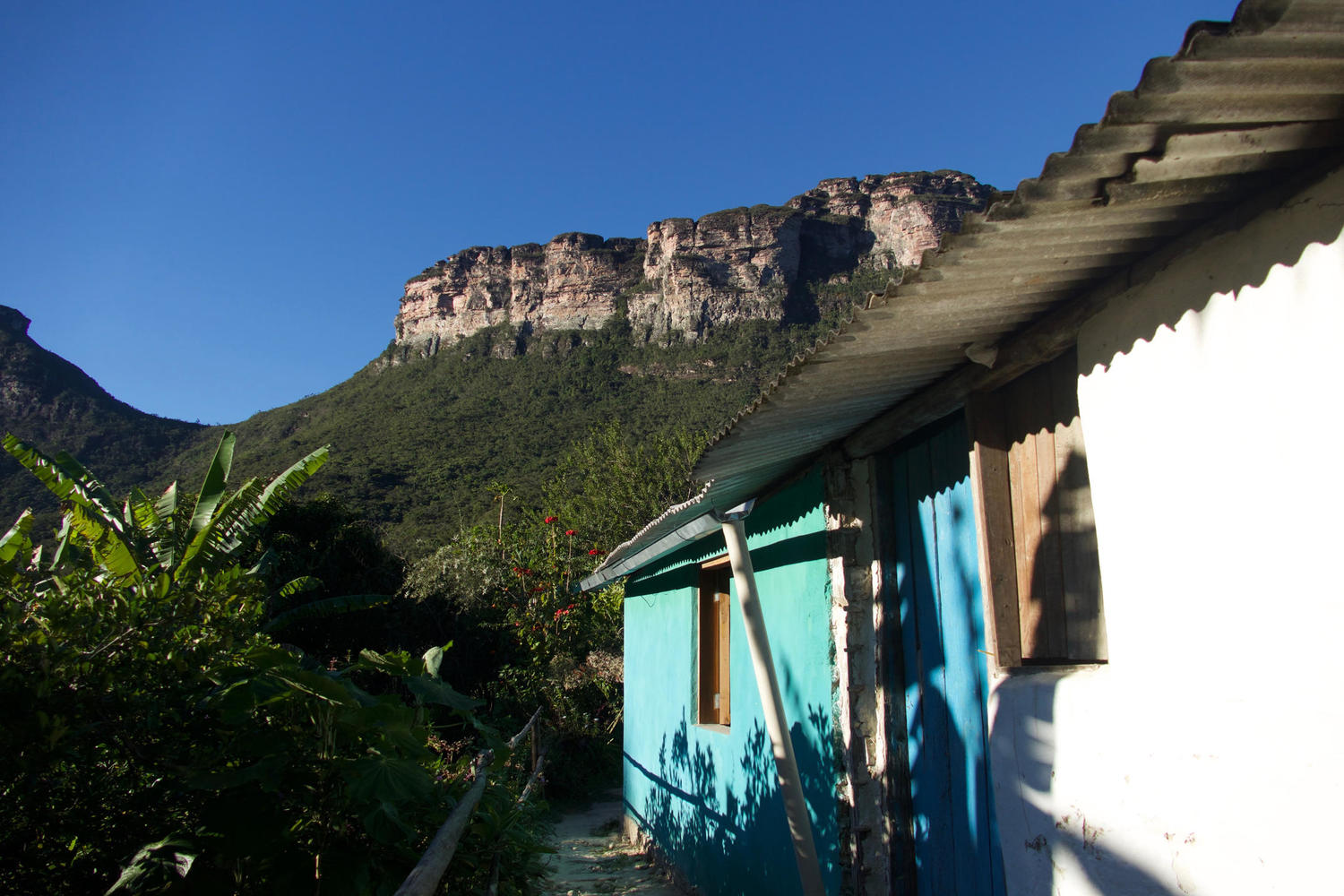 Homestay with mountain backdrop