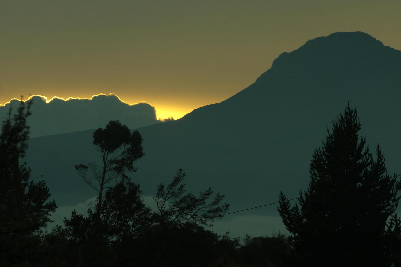 Sunset view of Volcan Corazon en route to El Porvenir, Cotopaxi