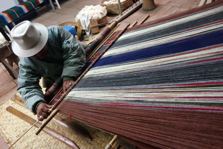 Small family weaving workshop near Otavalo