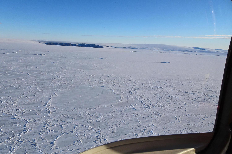 flying over Antarctica