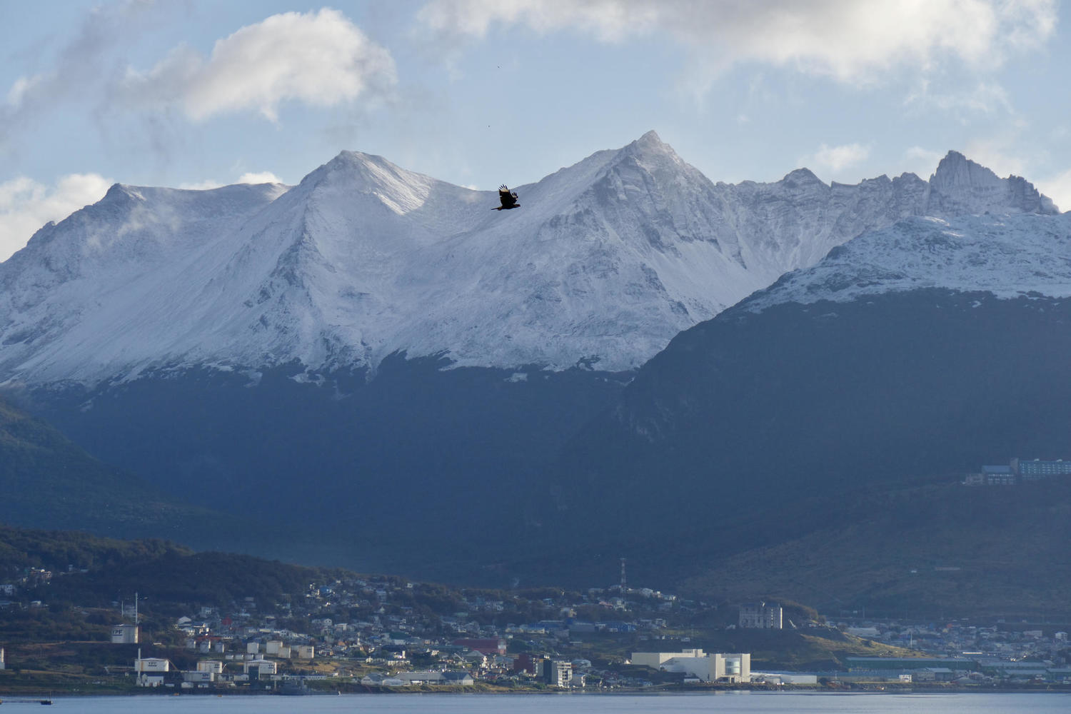 Ushuaia town view from airport with mountains behind