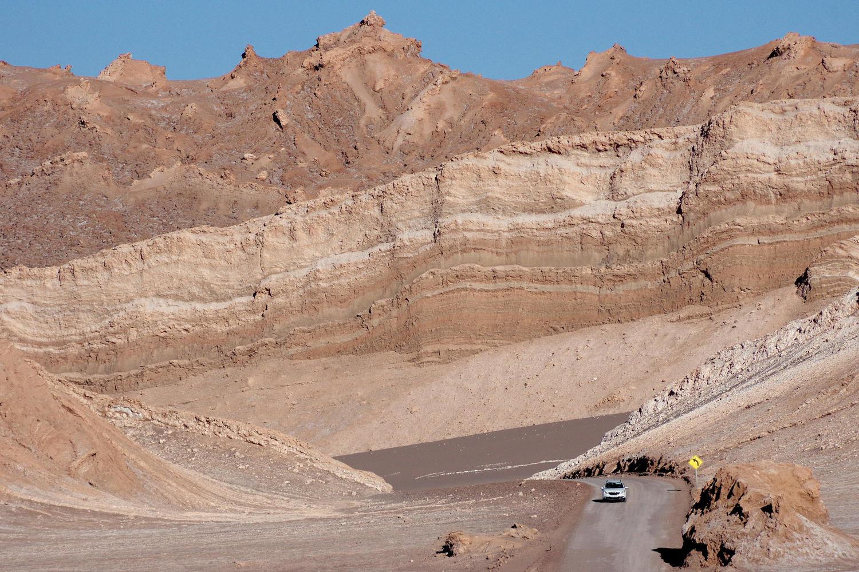 car driving in Atacama Desert Chile