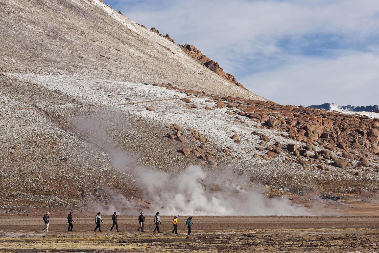 Walking at the Tatio Geysers in the Atacama Desert
