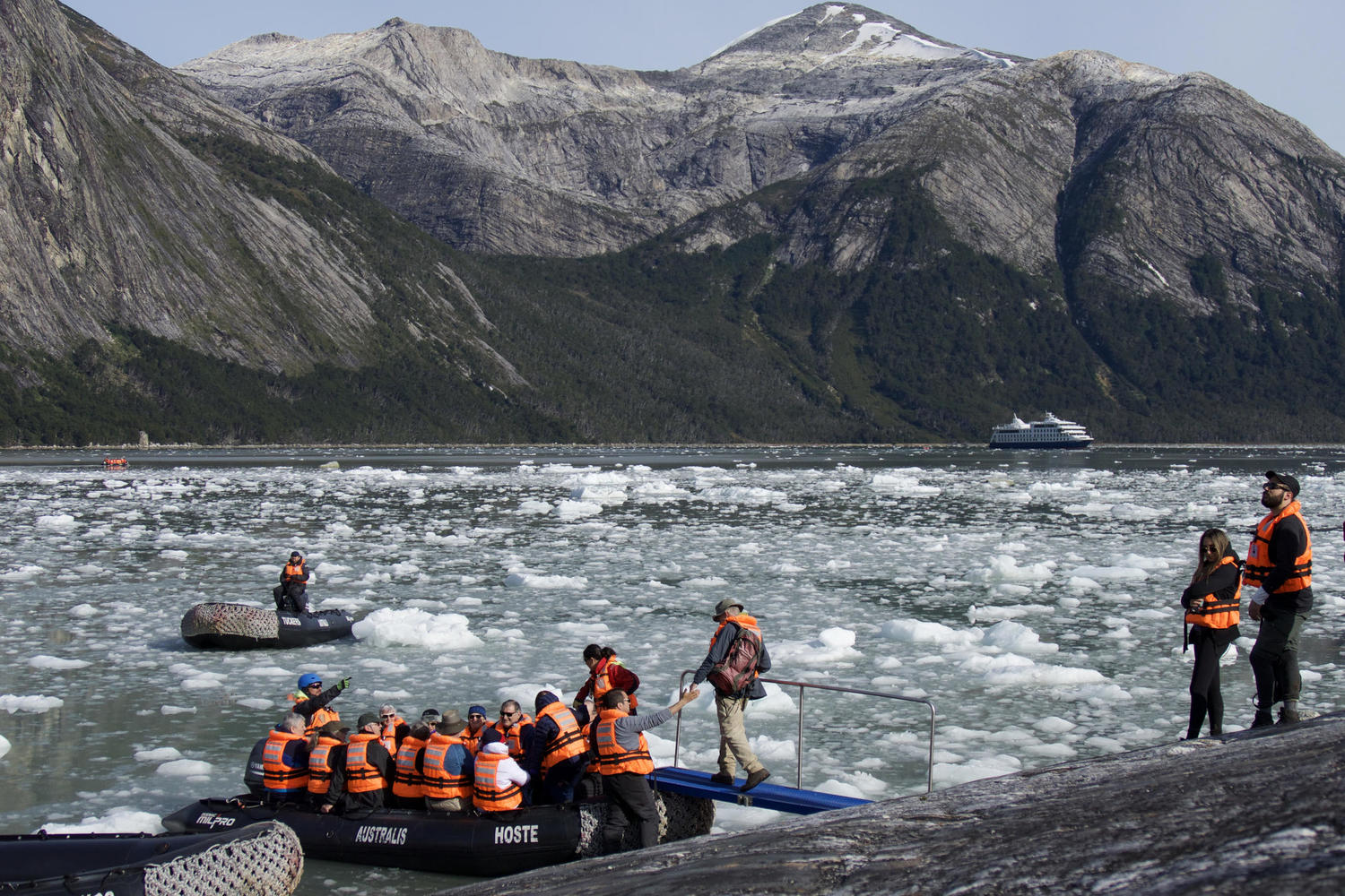 Boarding zodiacs for return to Australis from Pia Glacier